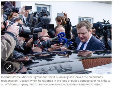 iceland prime minister resigns over Panama papers