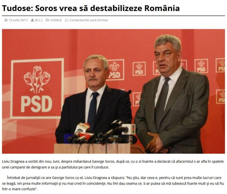 Dragnea Tudose Soros